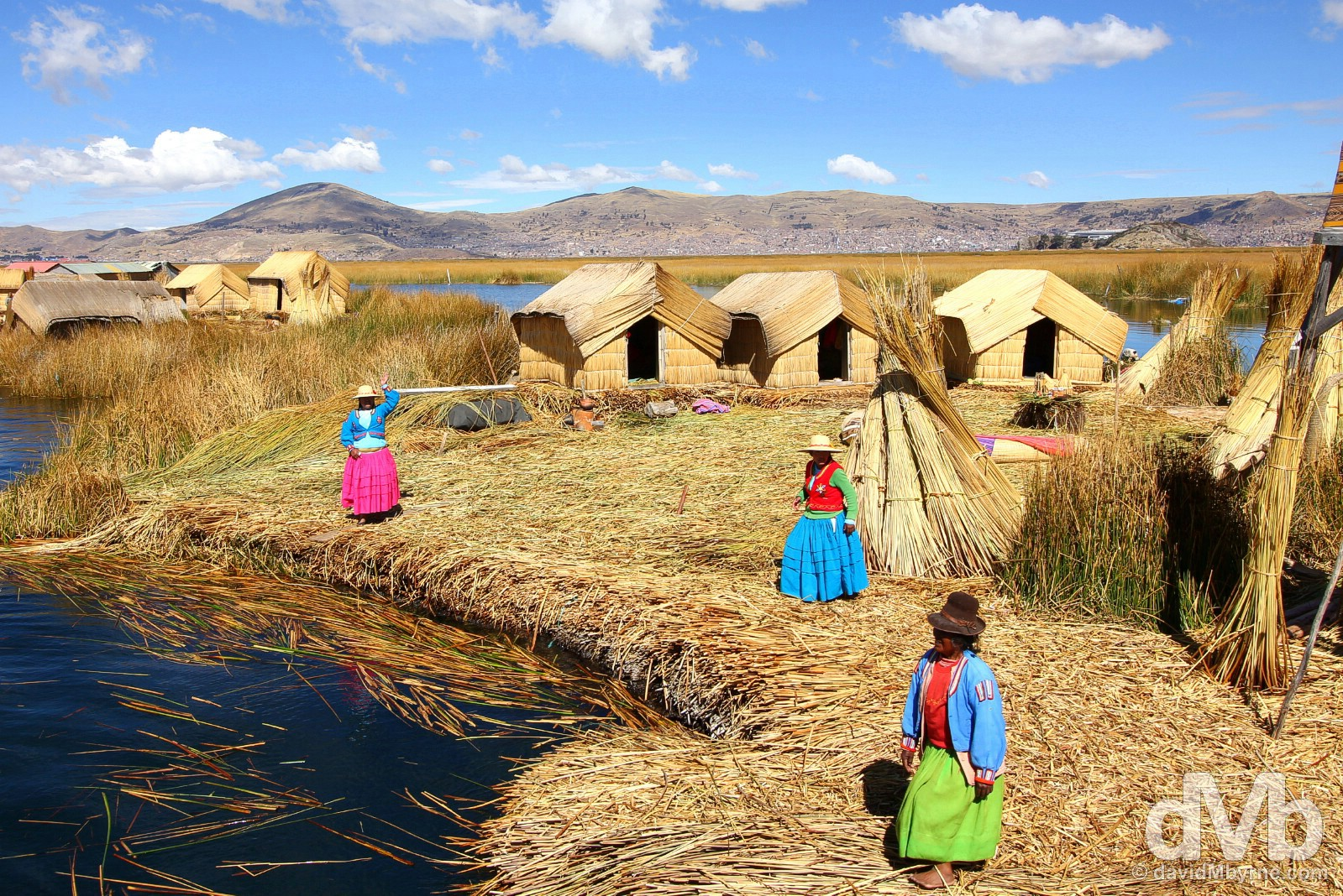 The welcome committee on the floating Uros Islands, Lake Titicaca, Peru. August 19, 2015.