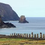 Ahu Tongariki as seen from Rano Raraku on Easter Island, Chile. September 29, 2015.