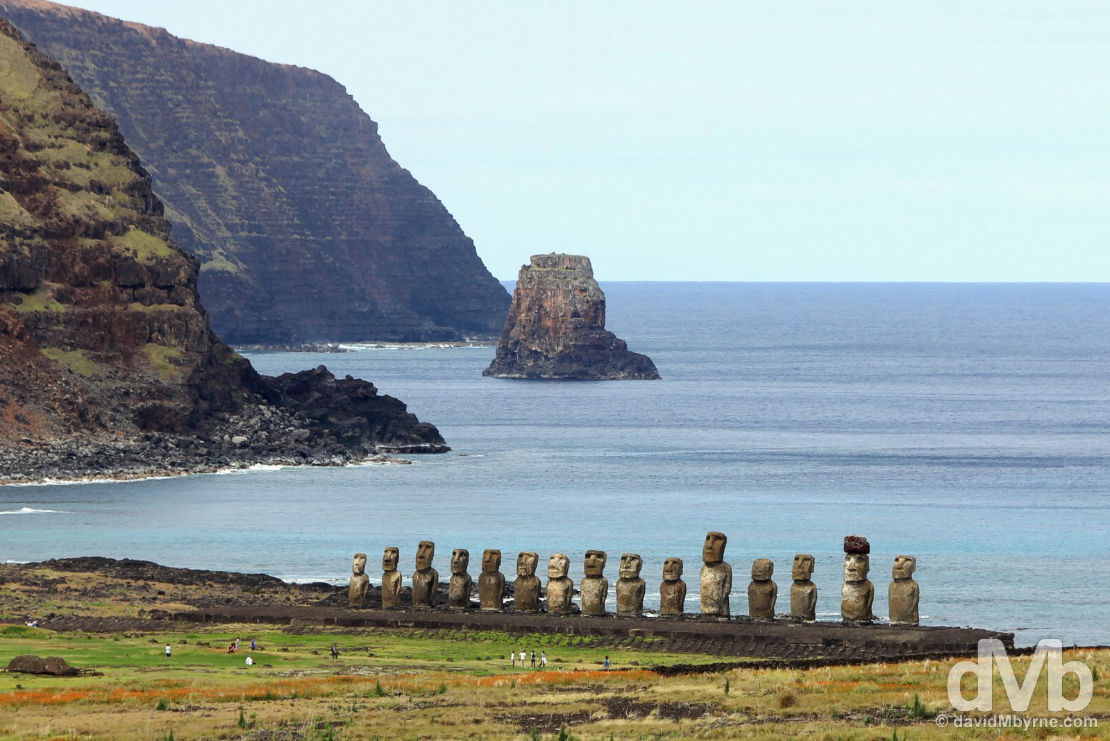 Ahu Tongariki as seen from Rano Raraku on Easter Island, Chile. September 29, 2015.