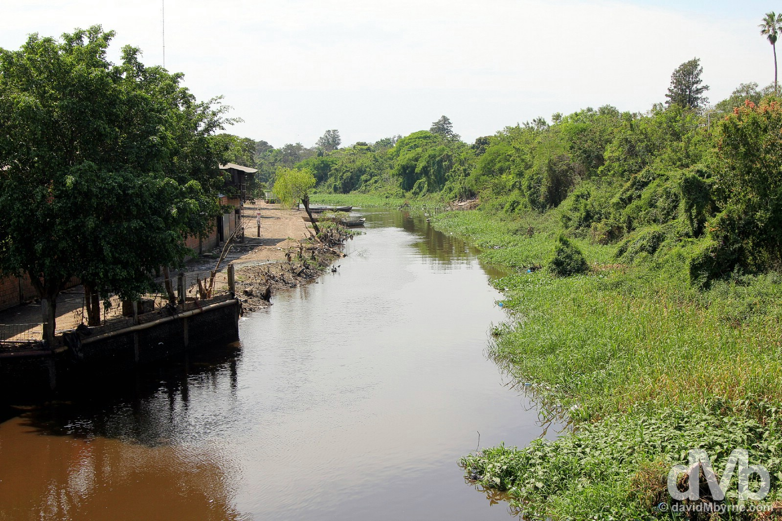 A stream/river marking the Argentina (right) - Paraguay (left) border crossing outside the Argentine town of Clorinda, northeast Argentina. September 8, 2015.
