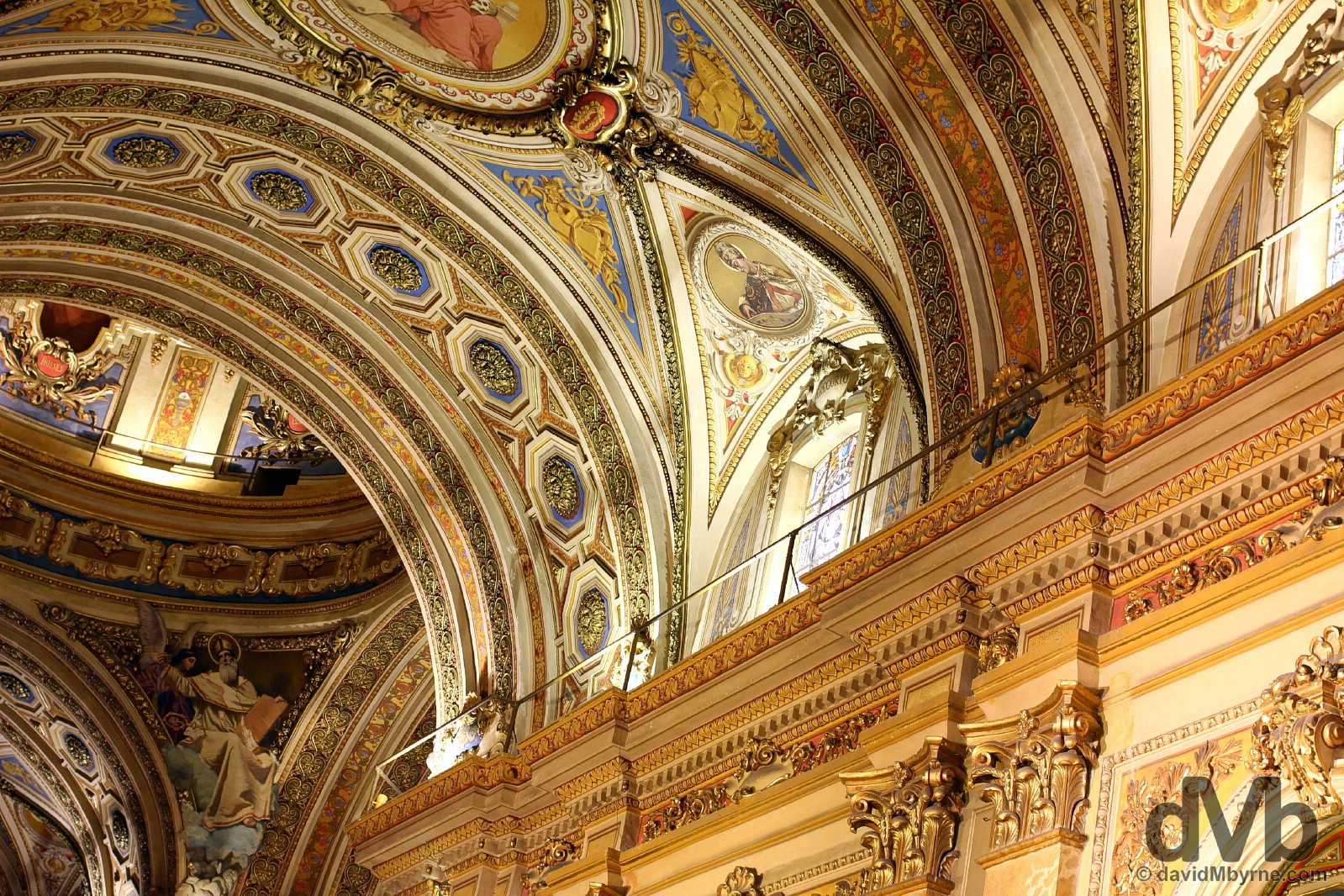 A portion of walls and ceiling of the Cathedral in Cordoba, Argentina. September 23, 2015.