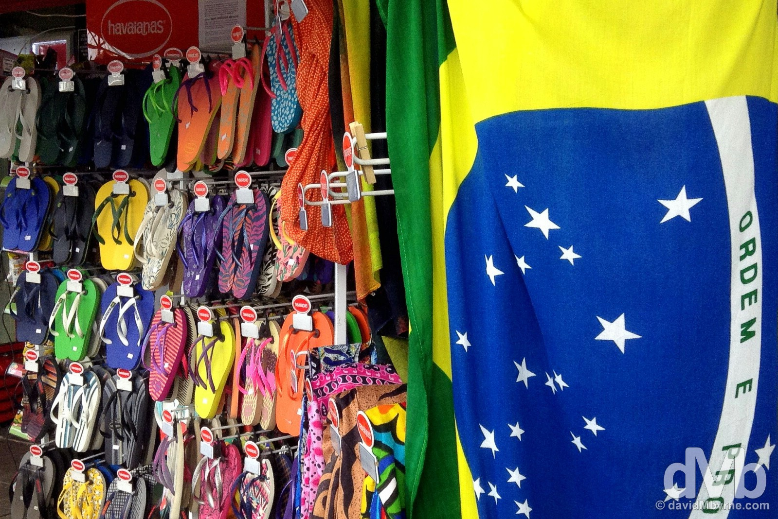 Havaianas for sale in Centrinho da Lagoa on Ilah Santa Catarina, Brazil. September 16, 2015.
