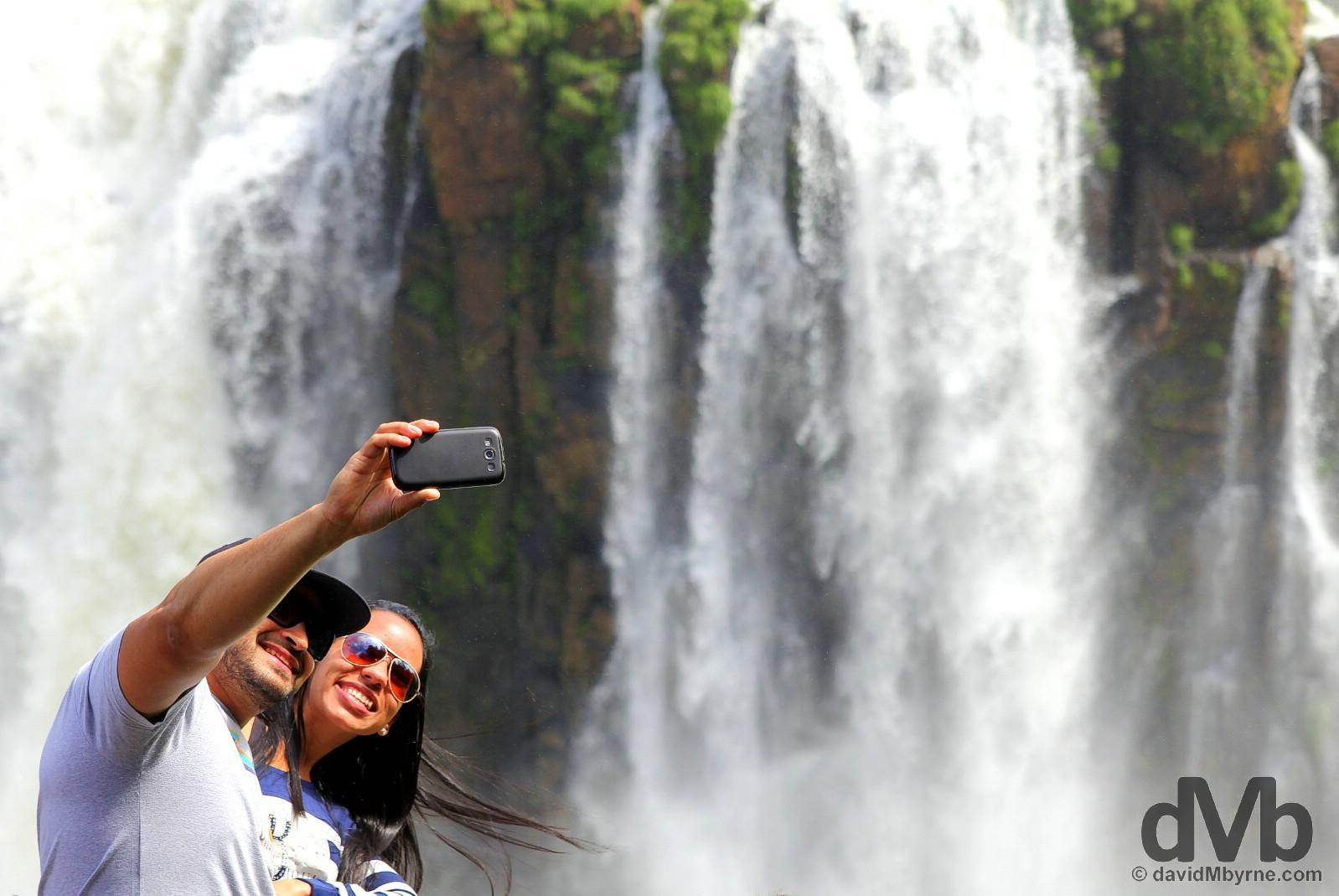 Couple selfie at Iguazu Falls in Parque Nacional Do Iguacu, Brazil. September 12, 2015.