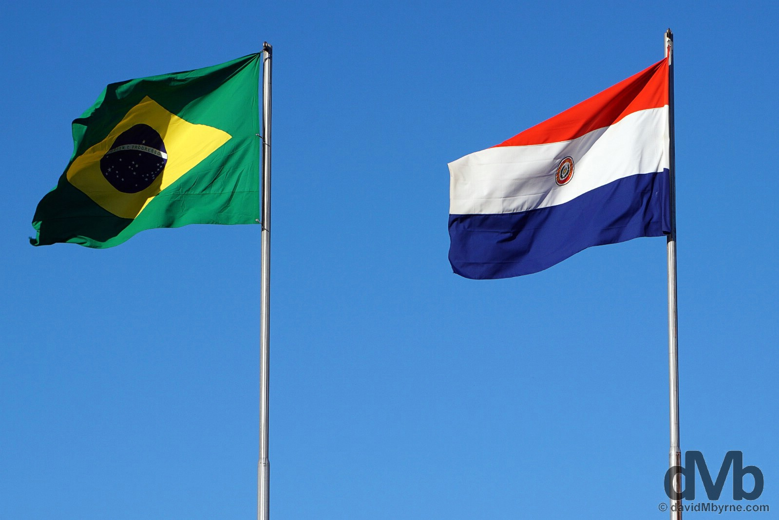 Brazilian & Paraguayan flags at the Visitor's Centre of the Itaipu Dam on the Brazil-Paraguay border. September 13, 2015.