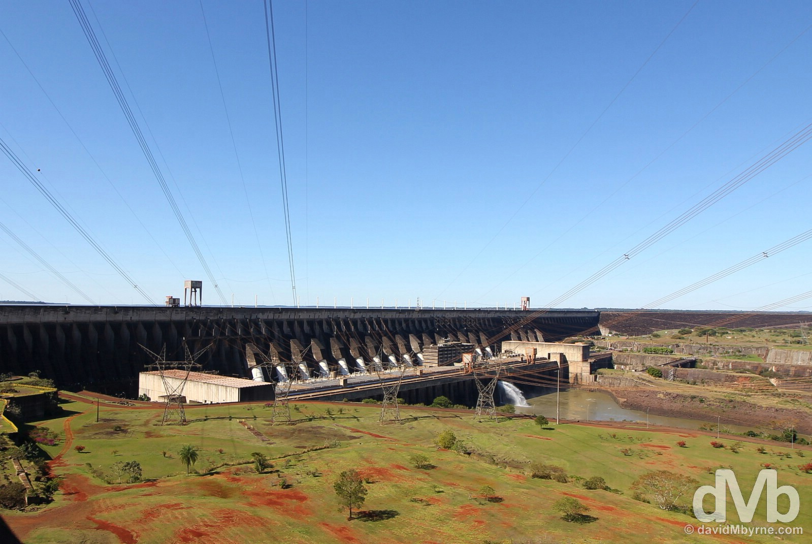 An overview of the massive Itaipu Dam on the Brazilian Paraguayan border. September 13, 2015.