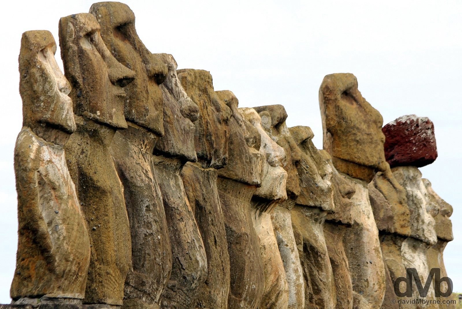 Lineup. The 15 Moai of Ahu Tongariki on Easter Island, Chile. September 29, 2015.