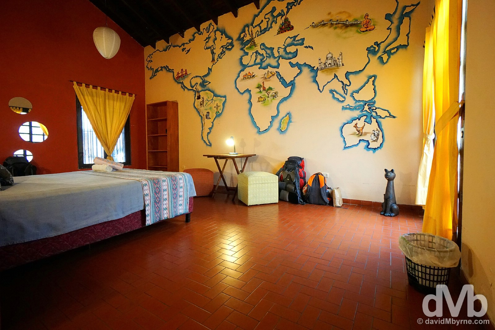 Home in Asuncion. Room 3 of El Nomada Hostel. I'd love this room even if not for the massive, wanderlust-inducing wall map. Asuncion, Paraguay. September 8, 2015.