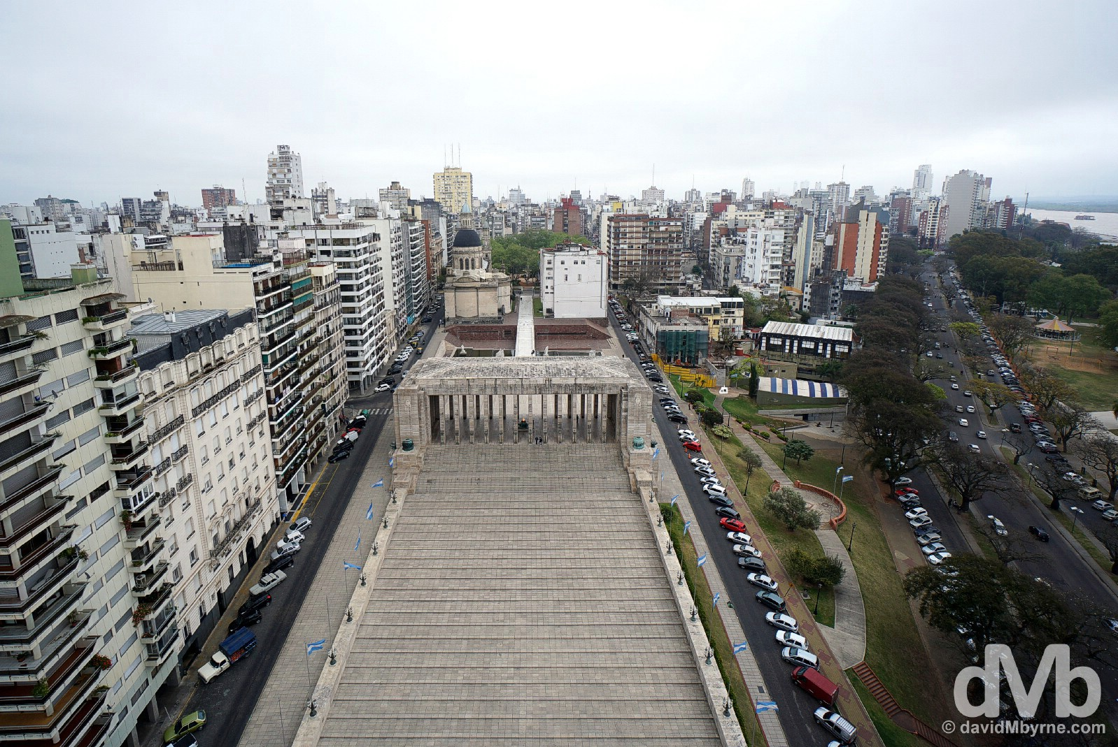 An overview of Rosario from the top of the Monumento a la Bandera in Roasrio, Argentina. September 22, 2015.