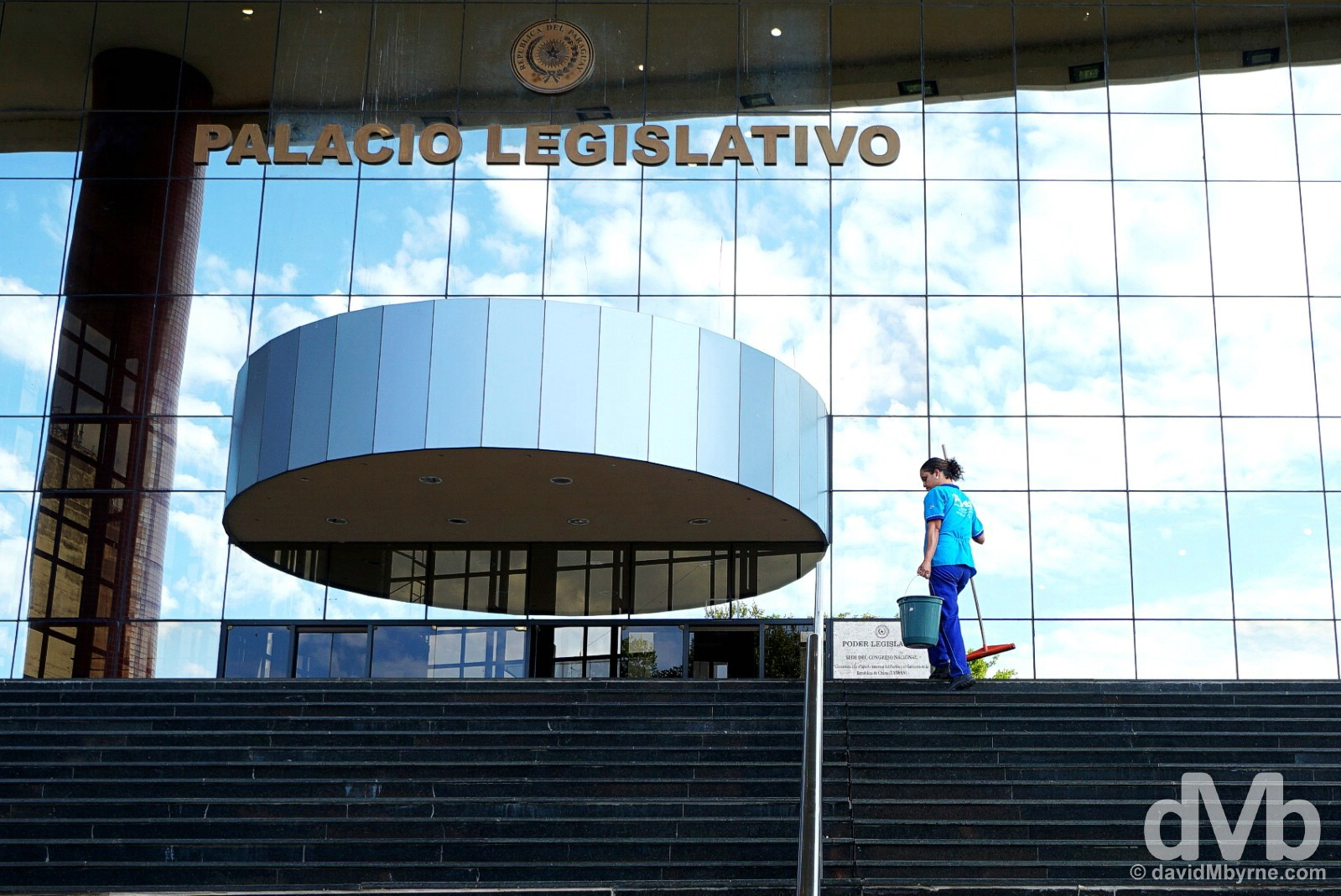 Cleaning the steps of the Palacio Legislativo in Asuncion, Paraguay. September 9, 2015.