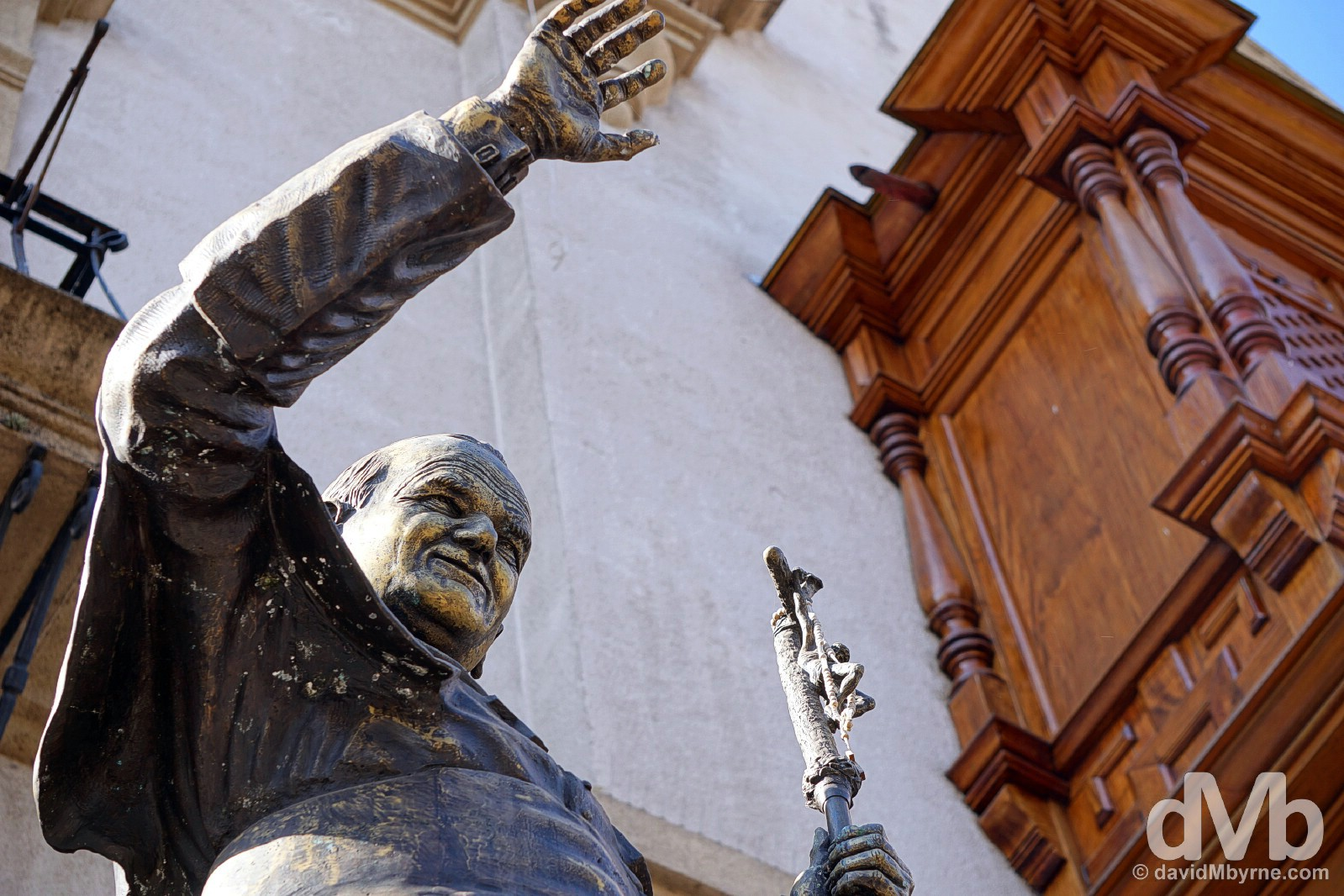 A statue of Pope John Paul II outside the Catedral in Salta, northern Argentina. September 6, 2015.