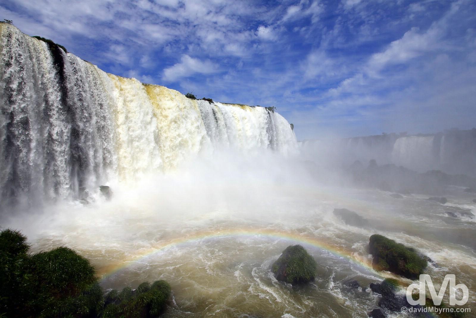 Rainbow at Iguazu Falls in Parque Nacional Do Iguacu, Brazil. September 12, 2015.