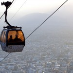 Riding the Teleférico San Barnardo cable car overlooking Salta, northern Argentina. September 6, 2015.