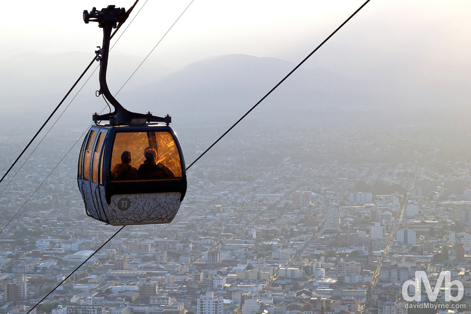 Riding the Teleférico San Barnardo cable car overlooking Salta, northern Argentina. September 6, 2015.
