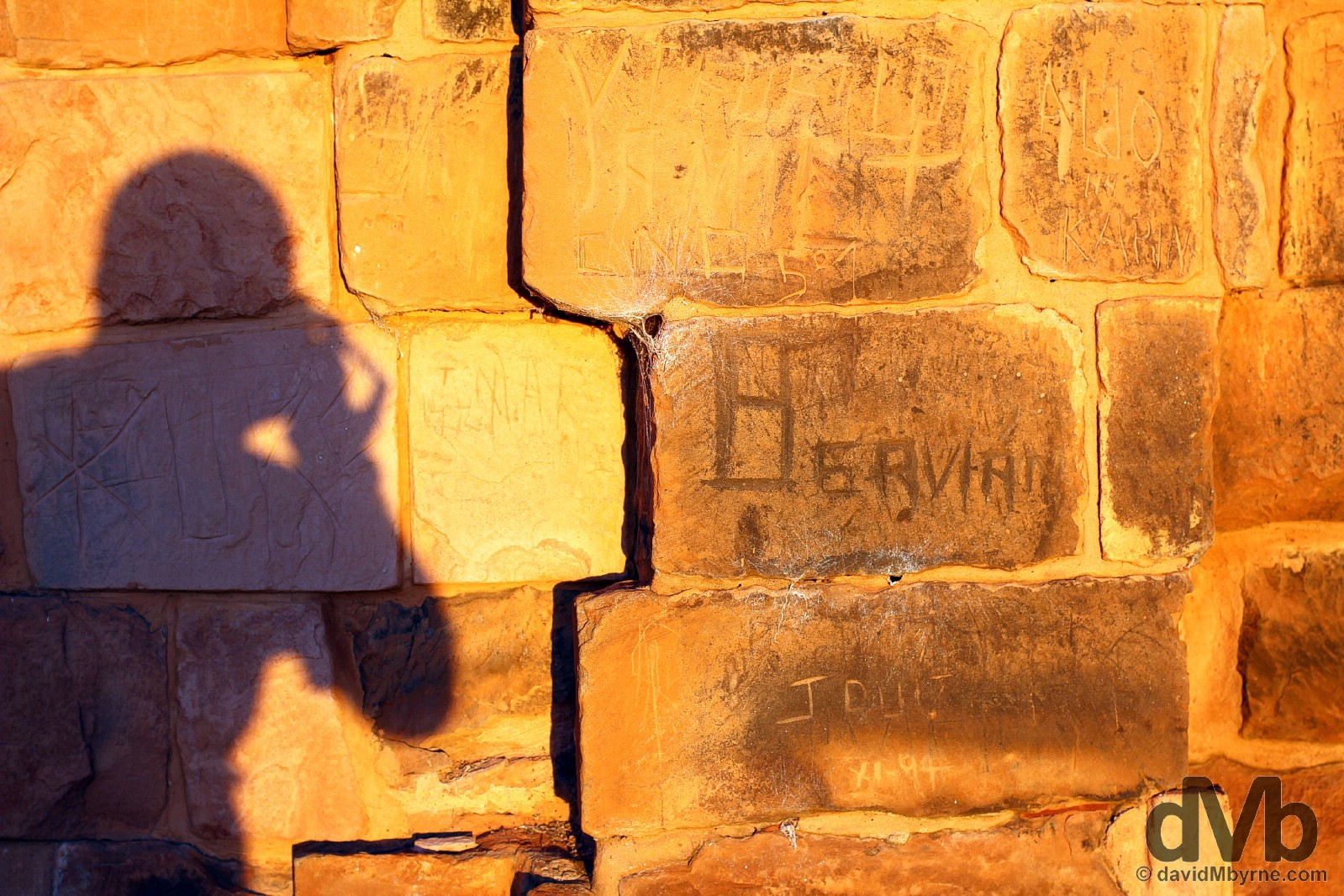 Sunset shadows on walls of the Igelsa Mayor in the Jesuit Mission of La Santísima Trinidad de Paraná in southern Paraguay. September 14, 2015.