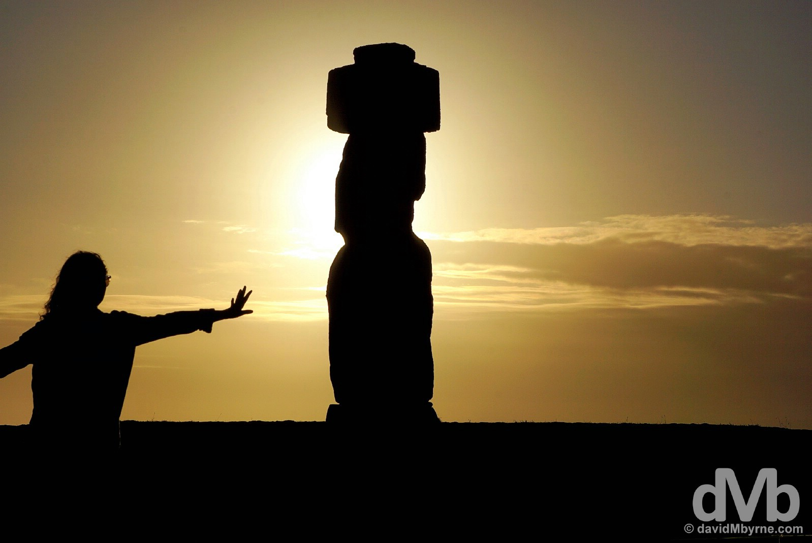 Playing with a Easter Island sunset. Tahai, Easter Island, Chile. September 28, 2015.