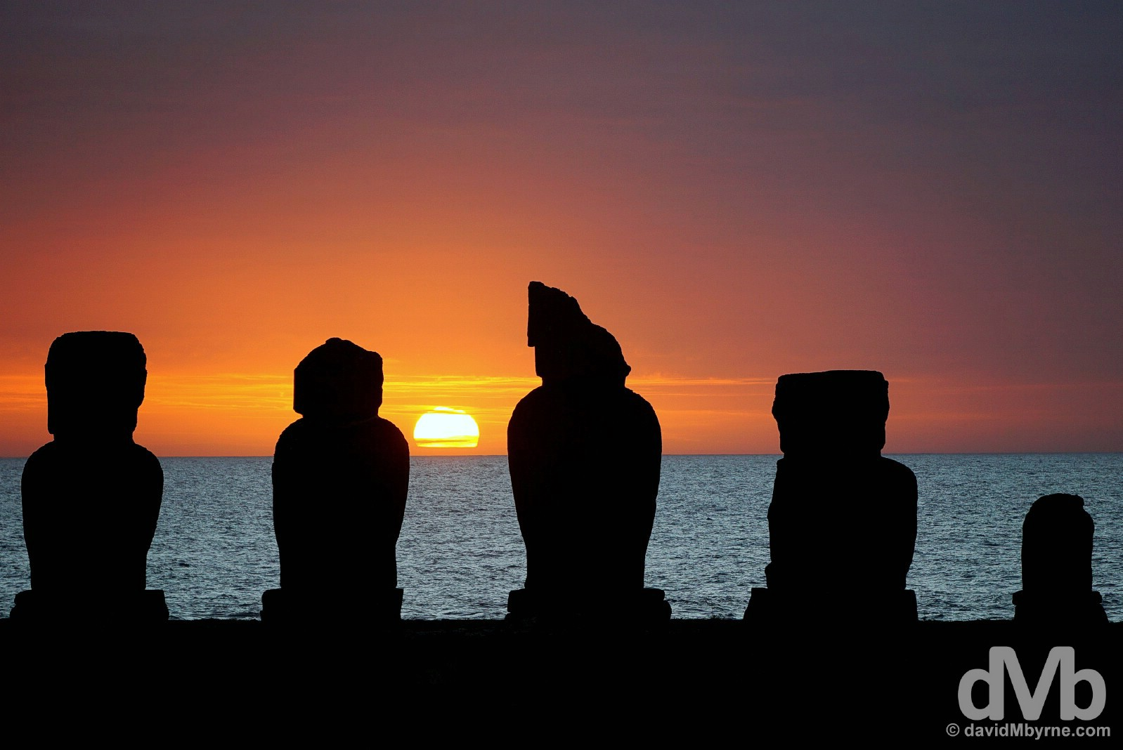 Sunset at Tahai on Easter Island, Chile. September 28, 2015.