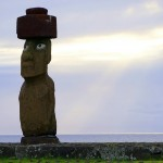 A moai statue at Tahai on Easter Island, Chile. September 27, 2015.