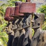The 7 moai of Ahu Nau Nau in Anakena, Easter Island, Chile. October 1, 2015.
