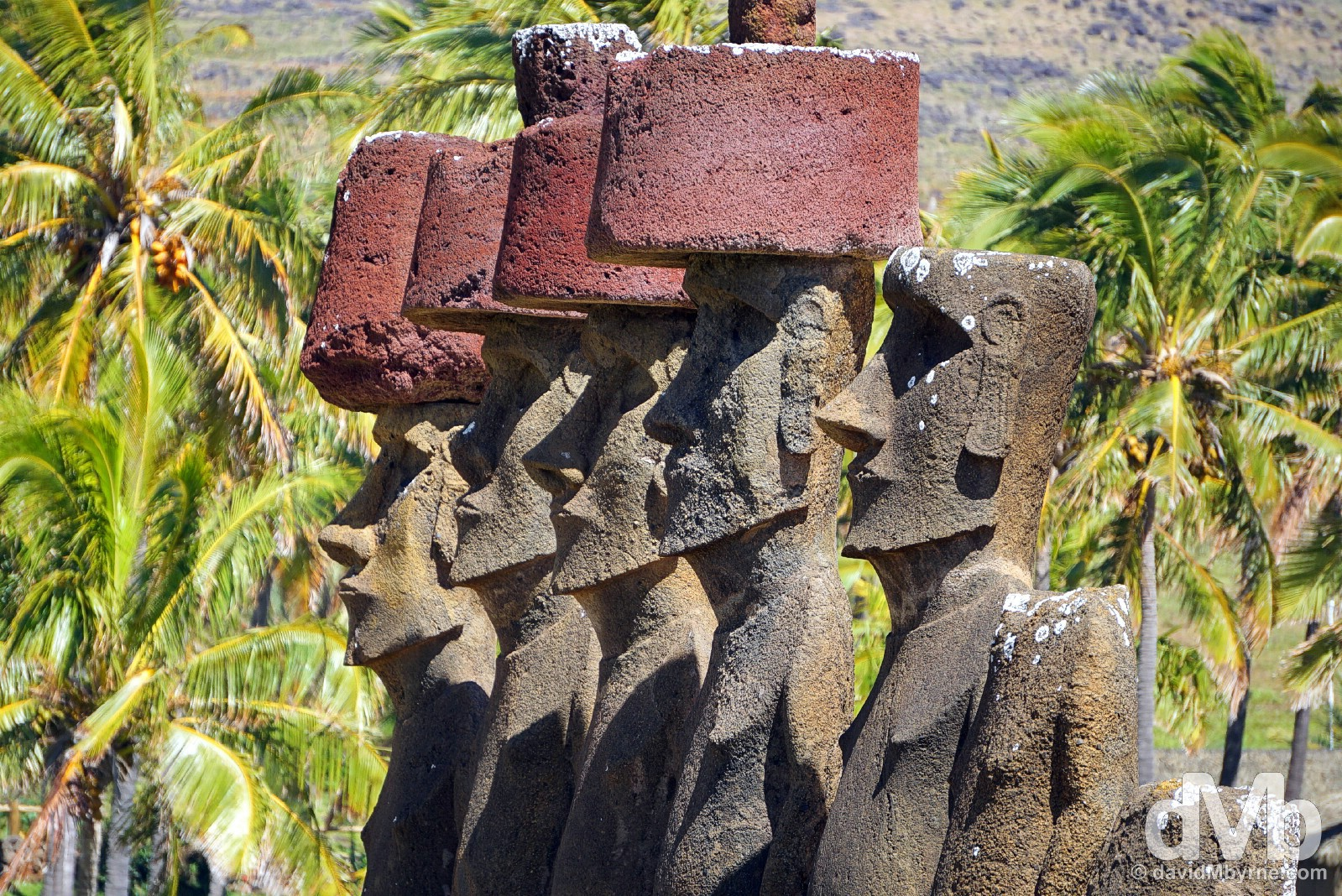 The 7 moai of Ahu Nau Nau in Anakena, Easter Island, Chile. October 1, 2015.
