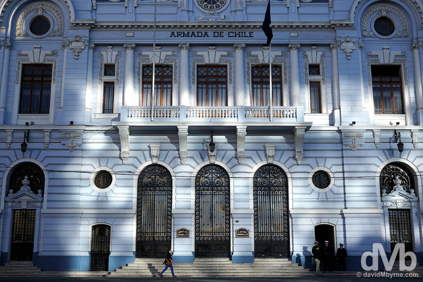 The Armada de Chile building on Plaza Sotomayor in Valparaiso, Chile. October 7, 2015.