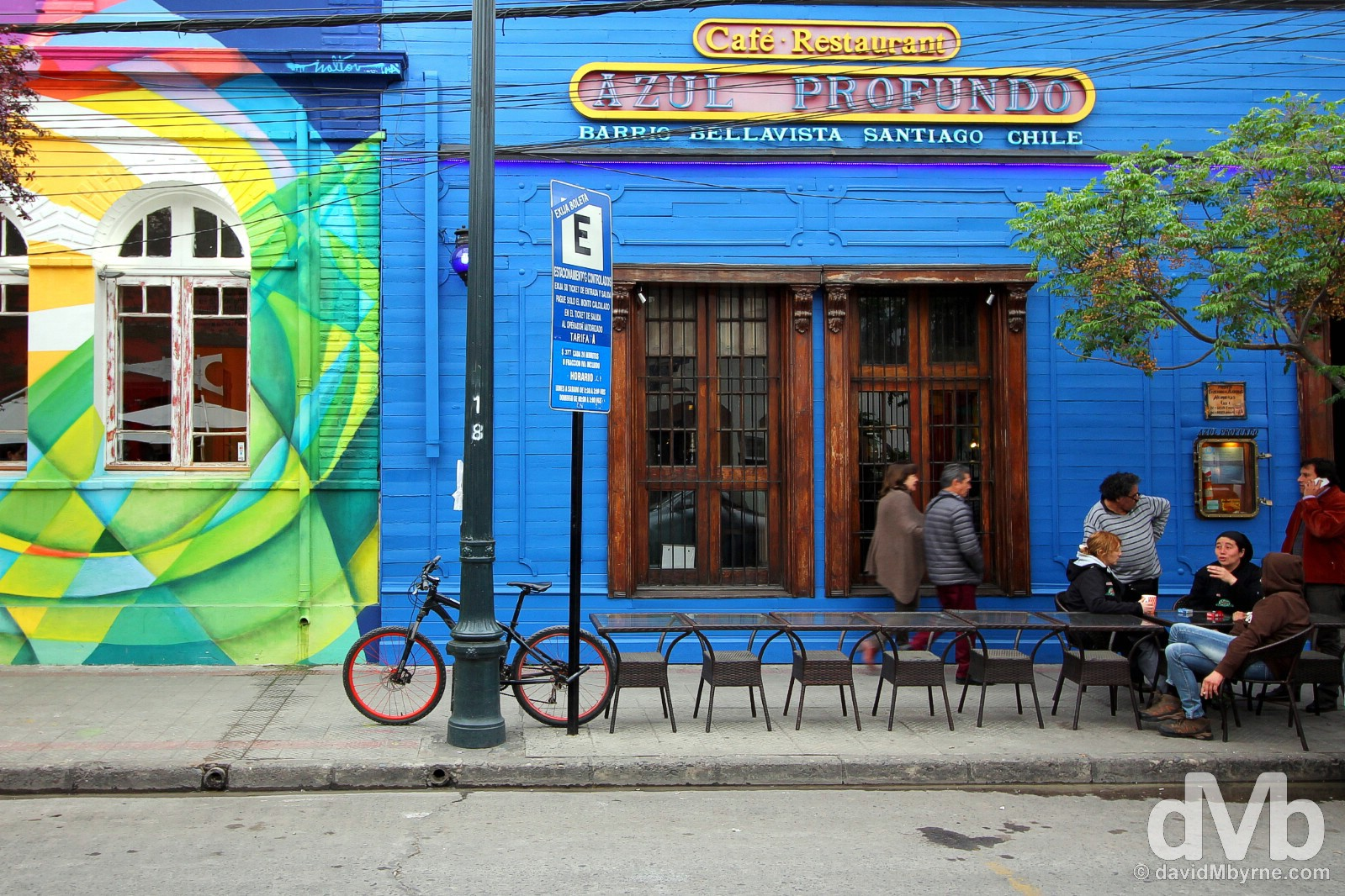 Colourful & bohemian Barrio Bellavista in Santiago, Chile. October 6, 2015.