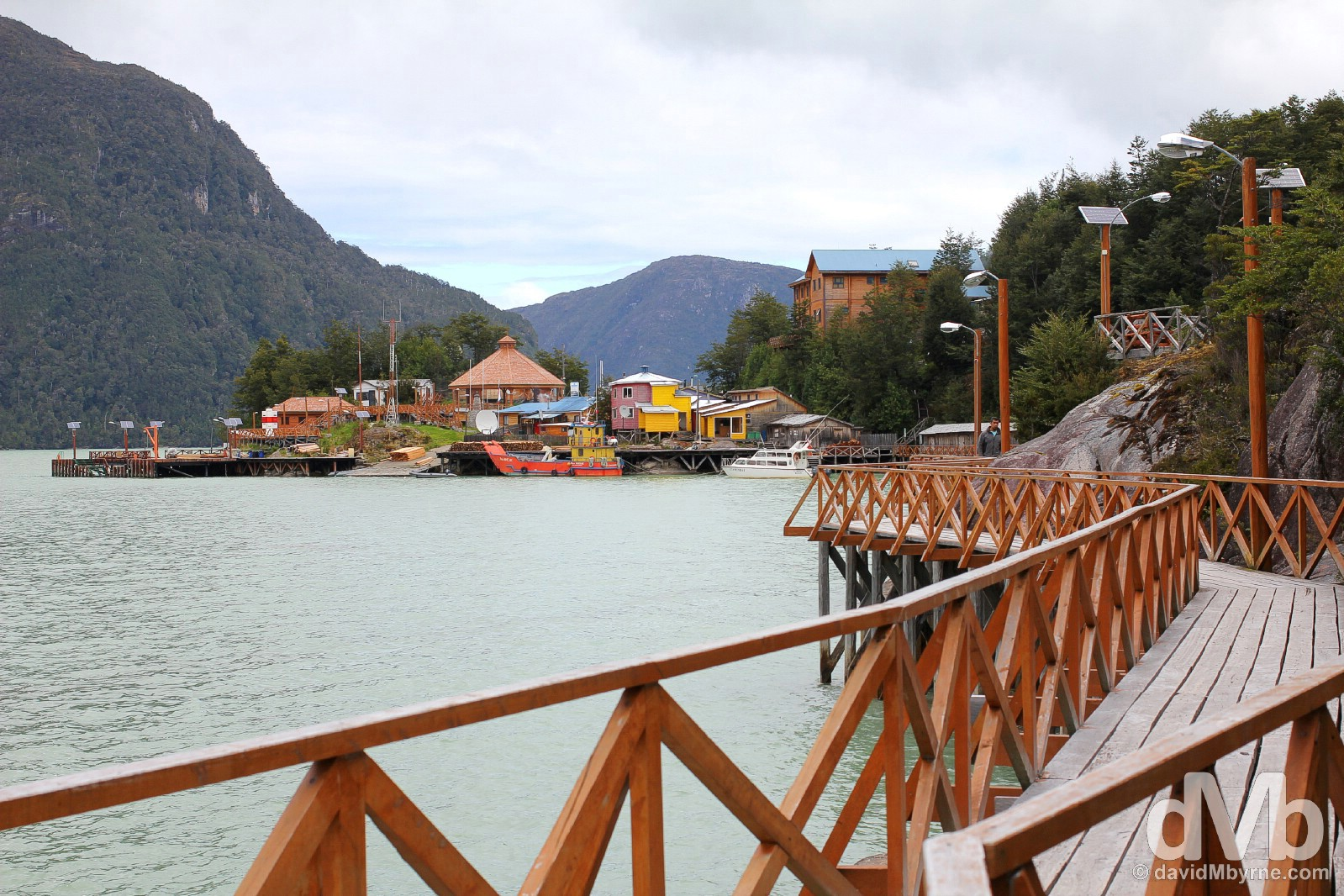 The boardwalks of Caleta Tortel in Aysen, Chile. October 29, 2015.