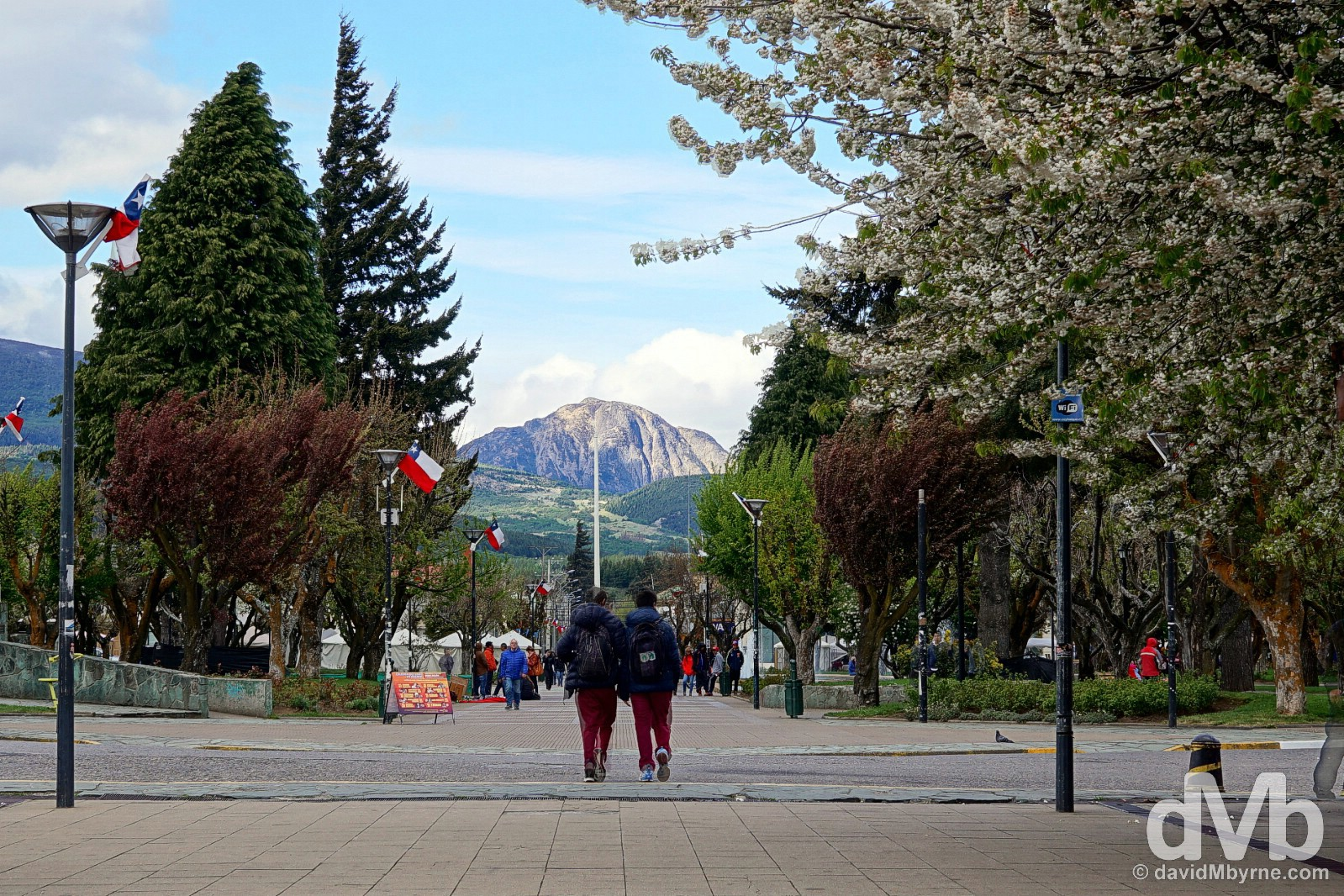 In the five-sided Plaza de Armas in Coyhaique, Aysen, Chile. October 26, 2015.