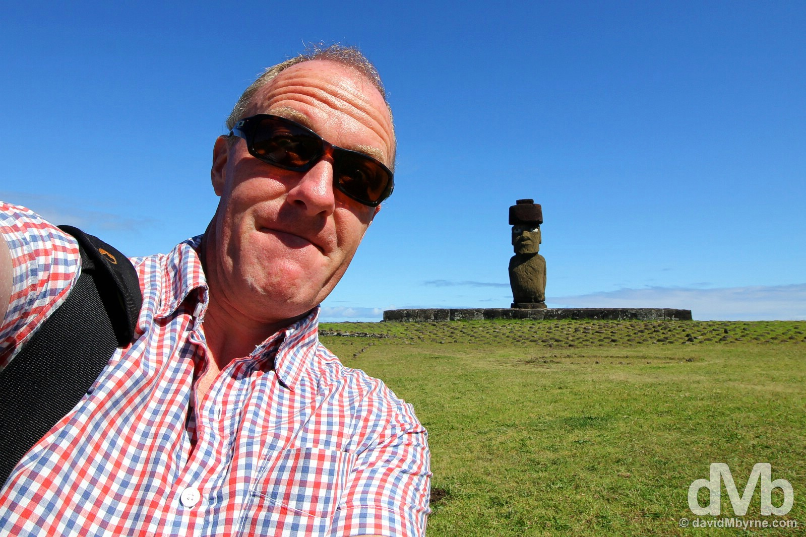 Selfie at Tahai, Easter Island, Chile. September 30, 2015.