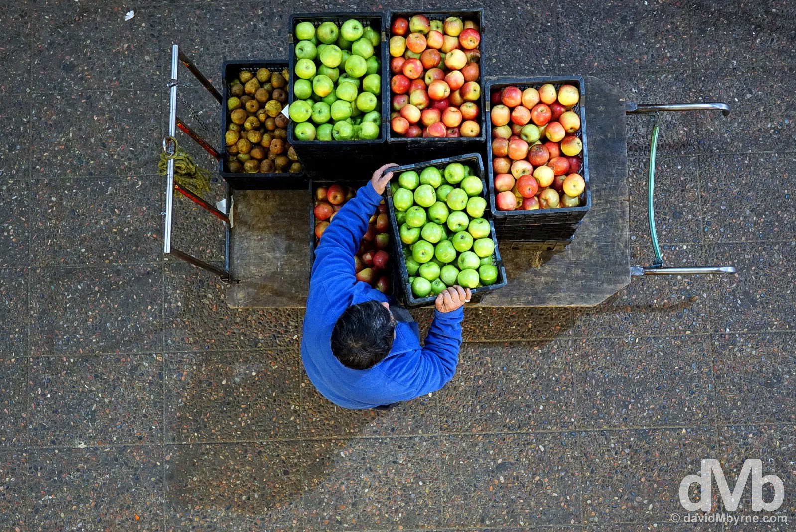 A fruit vendor in Feria Municipal La Vega, Santiago, Chile. October 6, 2015.