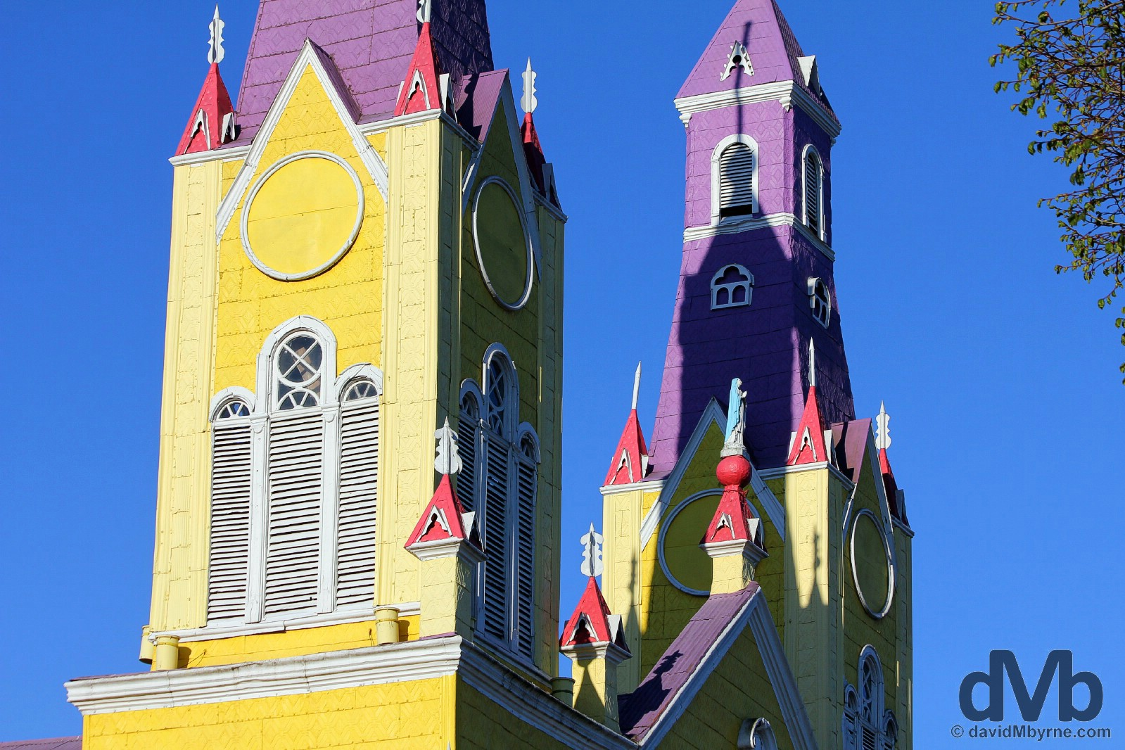 The spires of Iglesia de San Francisco in Plaza Armas, Castro, Chiloe, Chile. October 22, 2015.