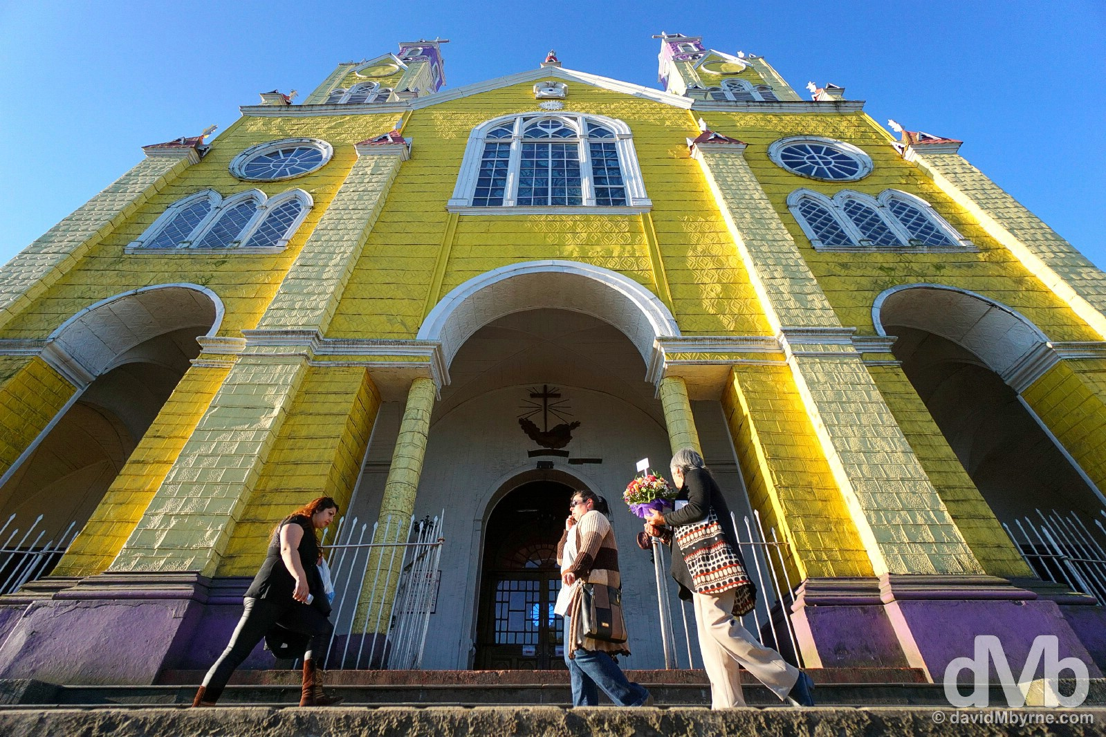 Fronting UNESCO-listed Iglesia de San Francisco in Castro, Chiloe, Chile. October 22, 2015.
