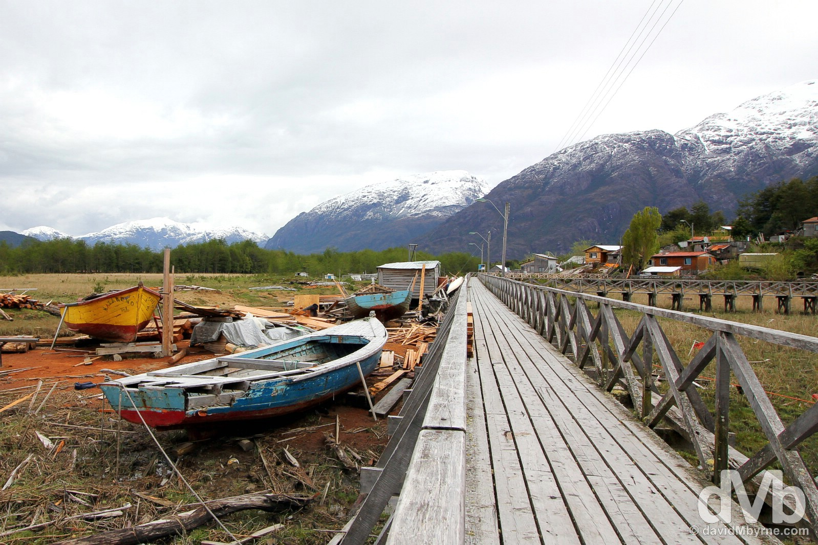 A boat repair yard in Junquillo, Caleta Tortel, Aysen, Chile. October 29, 2015.