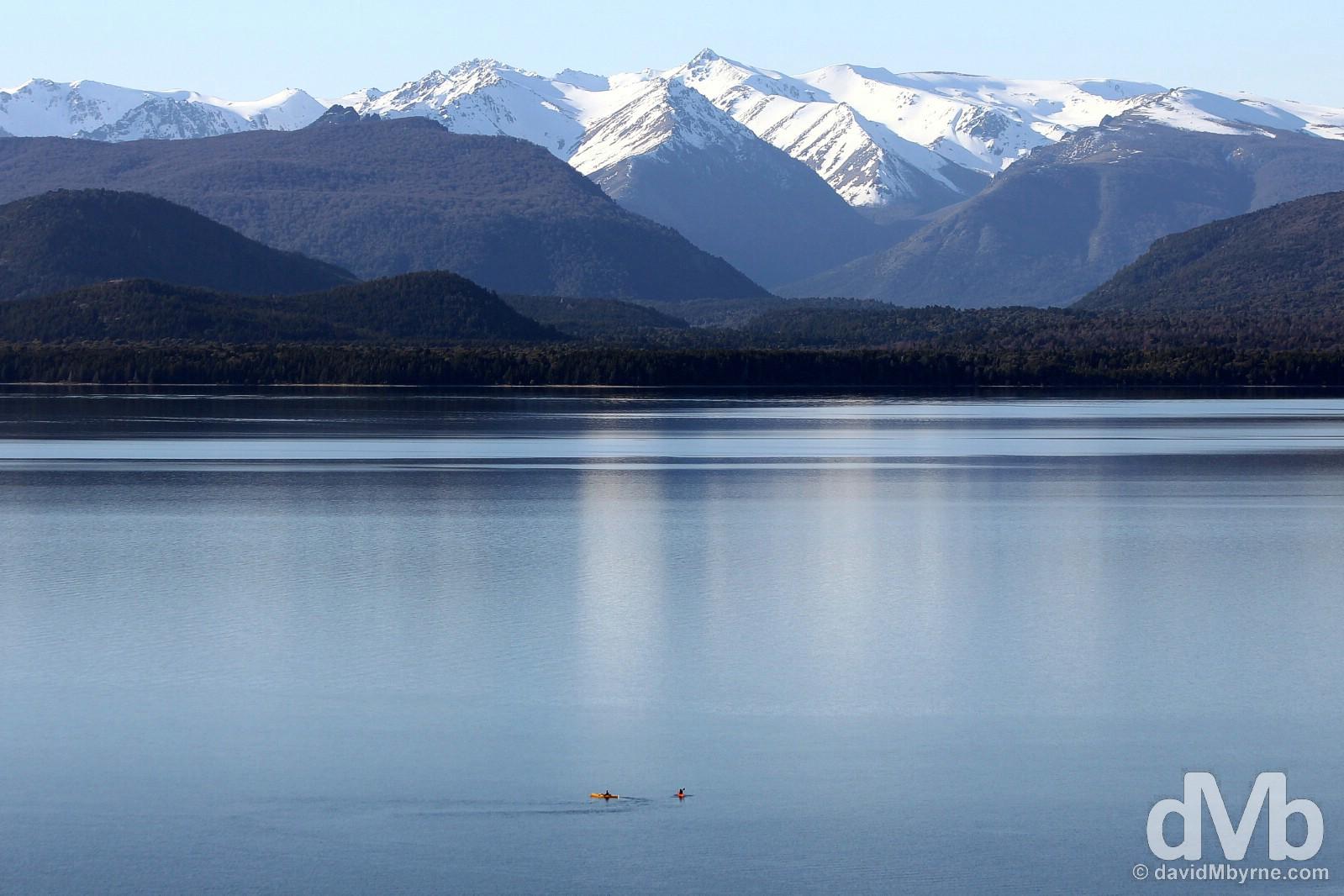 Kayaking on Lago Nahuel Huapi as seen from Bariloche, Patagonia, Argentina. October 17, 2015.