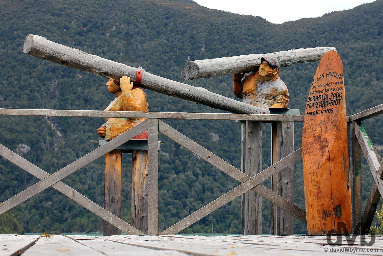 Logging statues in Plaza Orompello, Caleta Tortel, Aysen, Chile. October 29, 2015.