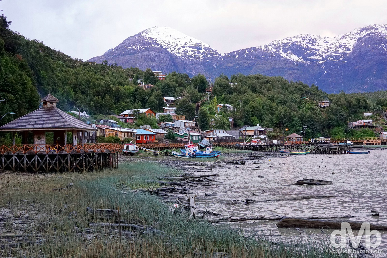 Low tide in Caleta Tortel, Aysen, Chile. October 28, 2015.