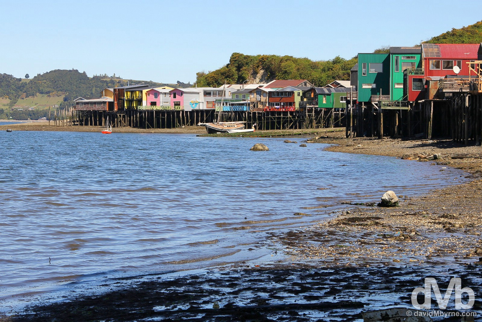 Palafitos at low tide in Castro, Chiloe, Chile. October 22, 2015.