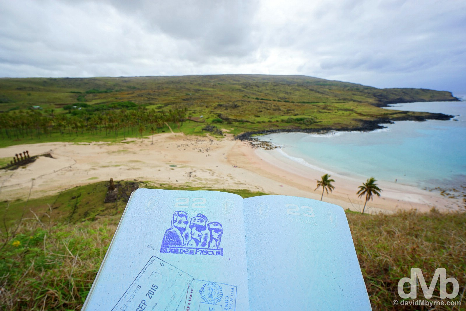 Passport stamp overlooking Anakena, Easter Island, Chile. October 2, 2015.
