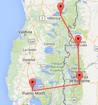 Pucon, Chile - San Martin de los Andes, Argentina - Bariloche, Argentina - Puerto Varas, Chile.