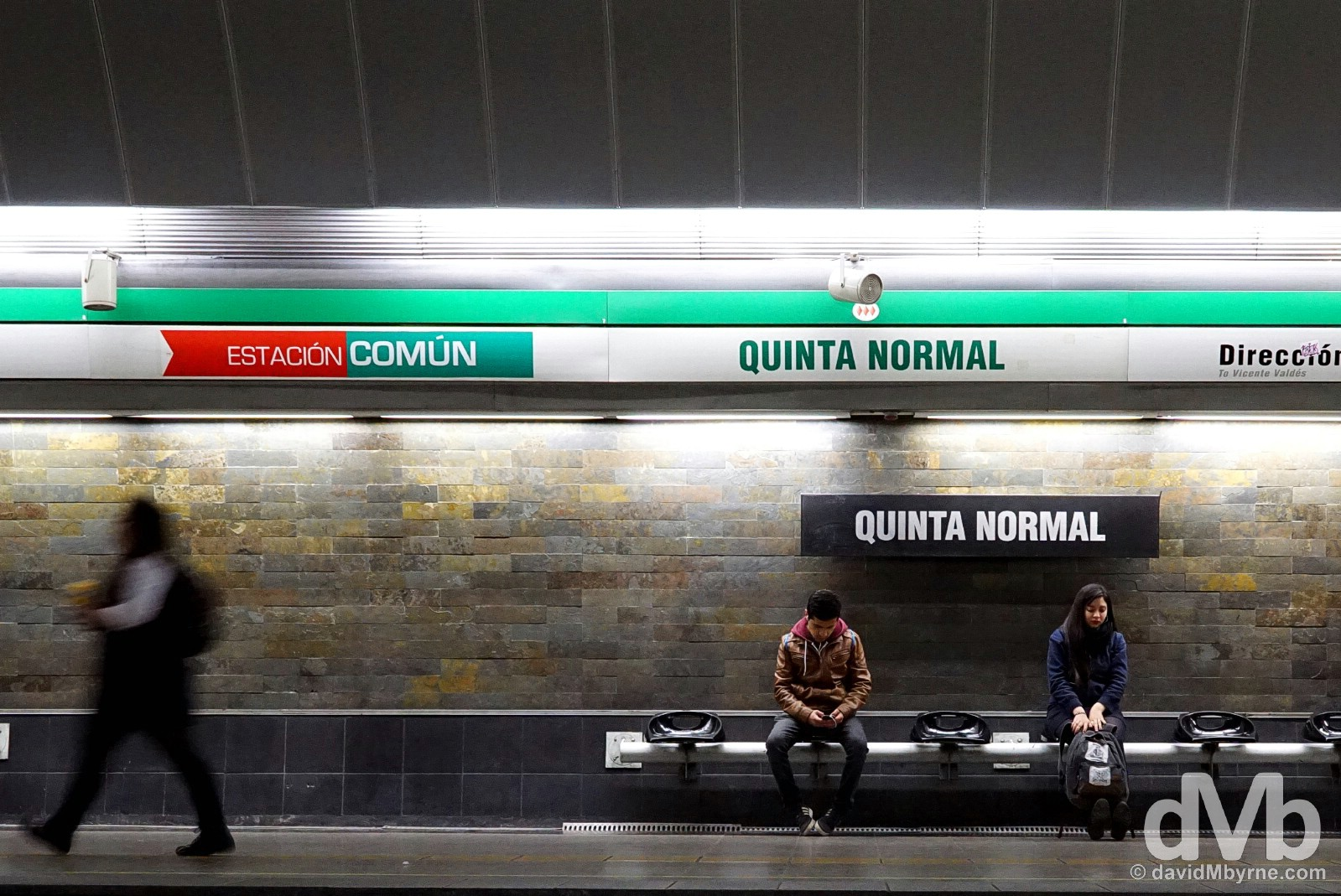 On the platform of Quinta Normal Metro station in Santiago, Chile. October 6, 2015.