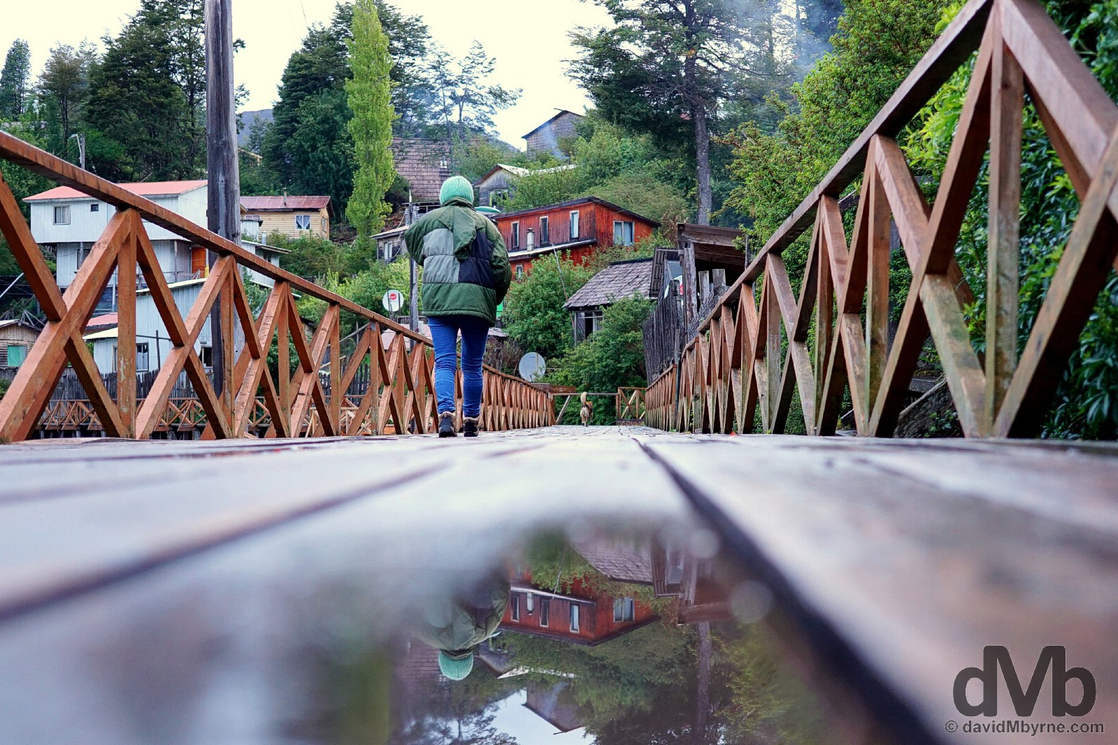 Boardwalk reflections in Caleta Tortel, Aysen, Chile. October 28, 2015.