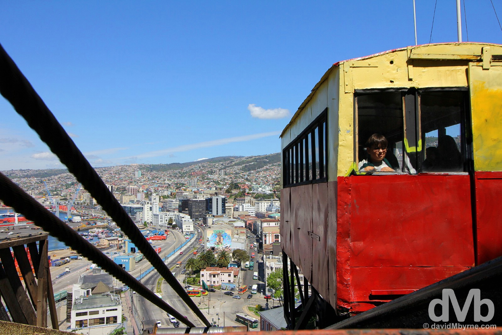 Ascending the Ascensor Artilleria in Valparaiso, Chile. October 8, 2015.