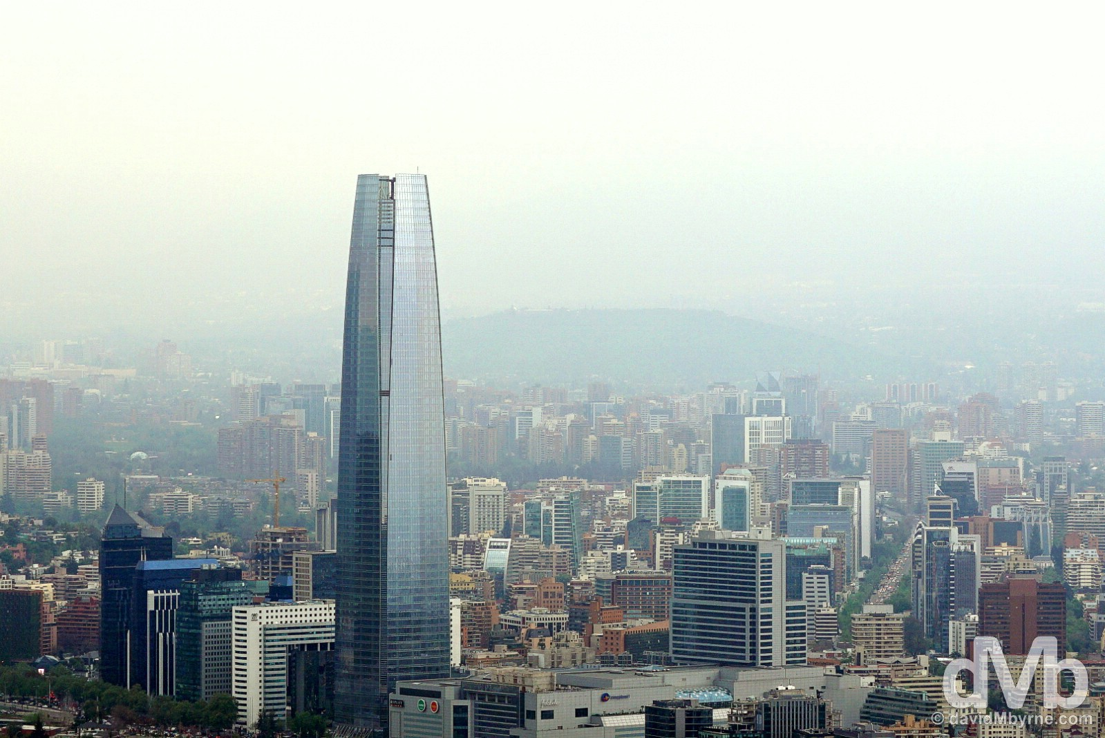 The Gran Torre Santiago, Latin America's tallest skyscraper, as seen from Cerro San Cristobal in Santiago Chile. October 6, 2015.
