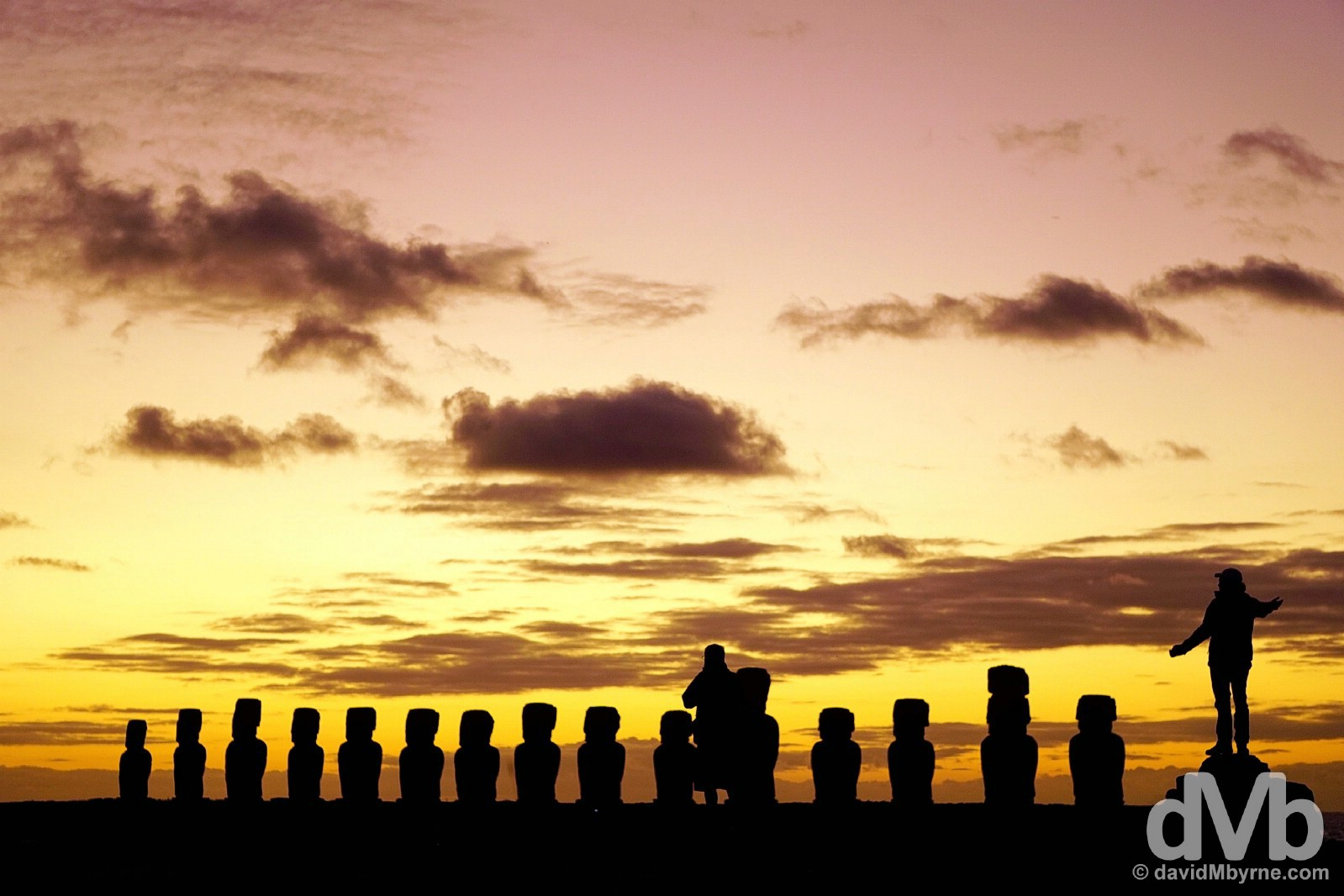 Awaiting sunrise at Ahu Tongariki, Easter Island, Chile. October 3, 2015.