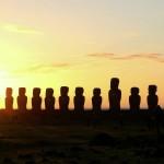 Sunrise at Ahu Tongariki, Easter Island, Chile. October 3, 2015.