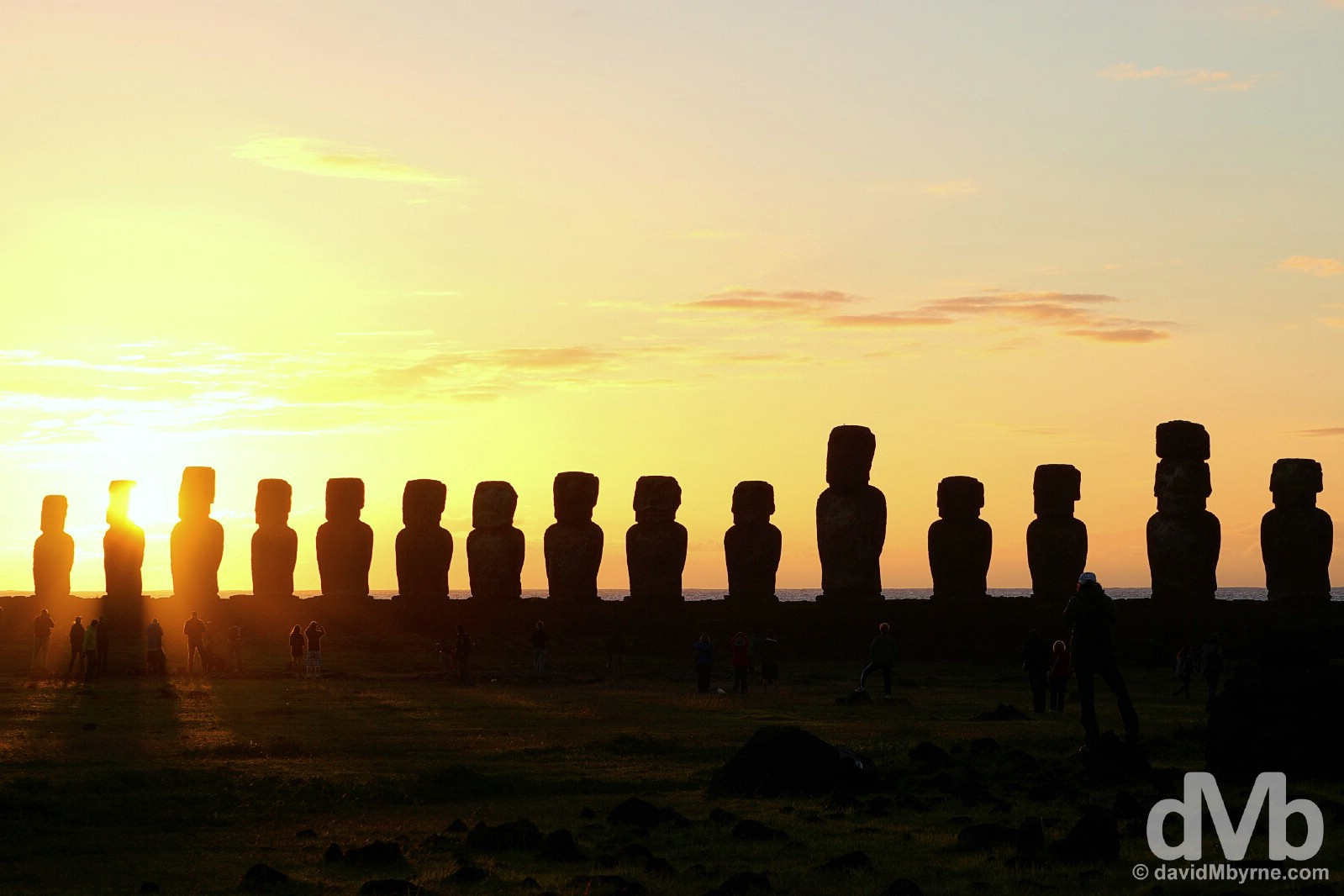 Sunrise at Ahu Tongariki, Easter Island, Chile. October 3, 2015.