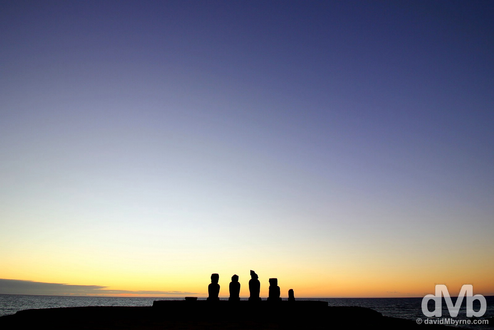 Post sunset silhouette at Tahai, Easter Island. September 30, 2015.