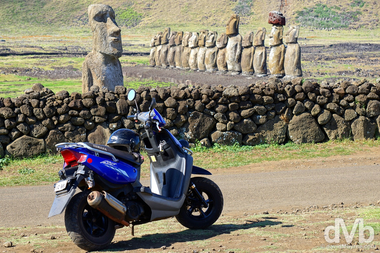 Yamaha at Ahu Tongariki, Easter Island, Chile. October 1, 2015.