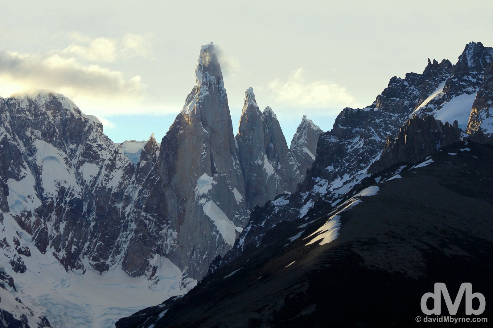 The last rays of the day on the distinctive, needle-like peak of Cerro Torre in Parque Nacional Los Glaciares, southern Patagonia, Argentina. November 3, 2015.