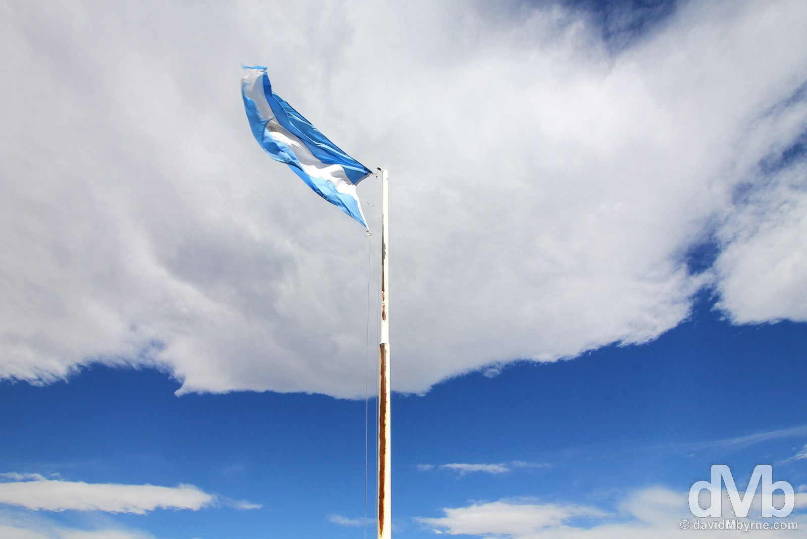 Argentinian flag at the Rio Jeinimeni border crossing between Chile & Argentina. October 31, 2015.