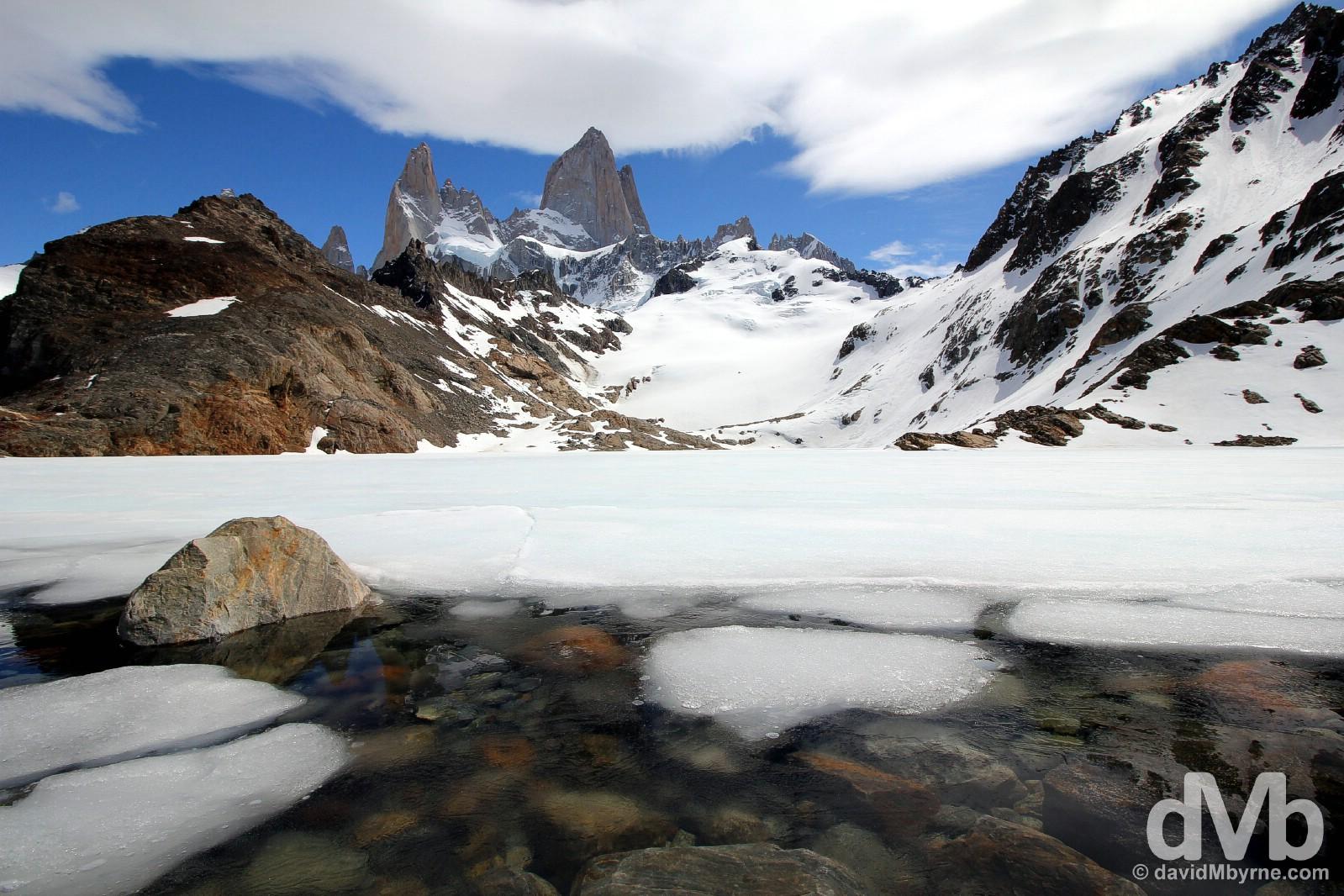 Laguna de los Tres fronting Monte Fitz Roy in Parque Nacional Los Glaciares, southern Patagonia, Argentina. November 4, 2015.